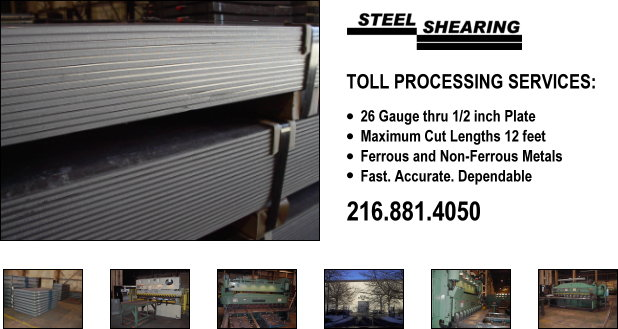 Toll Processing Services: 26 gauge thru 1/2 inch plate, Maximum cut lengths 12 feet, Ferrous and Non-Ferrous Metals, Fast. Accurate. Dependable., 216.881.4050